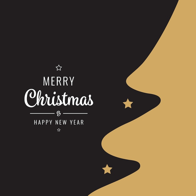 christmas card golden black tree silhouette premium vector