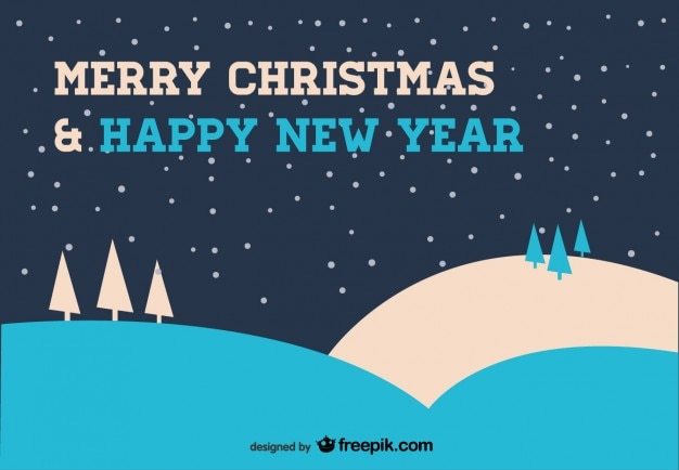 Christmas Card in Blue  Free Vector