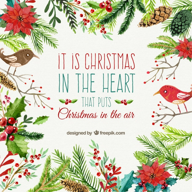 Christmas card in watercolor style Premium Vector