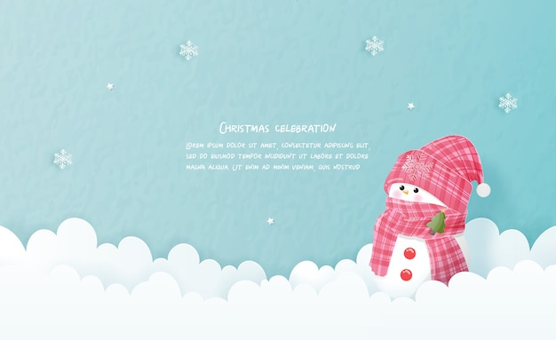 Christmas card in paper cut style. vector illustration Premium Vector