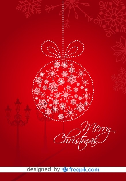 Christmas Card Red Background and Christmas\ Ball