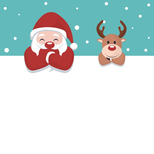 Christmas card of santa claus and reindeer Premium Vector