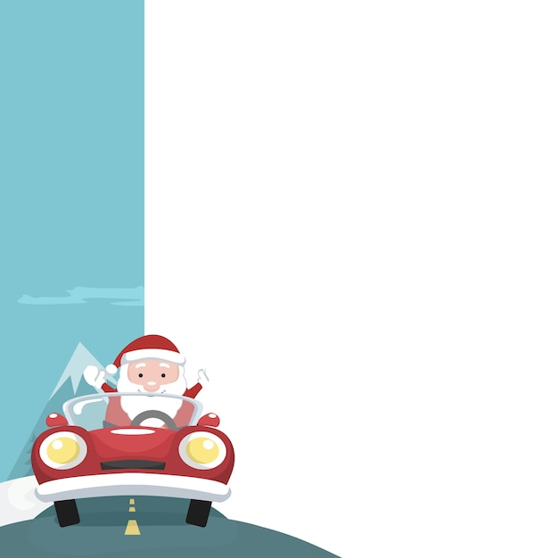 Christmas card of santa claus with blank sign to write Premium Vector