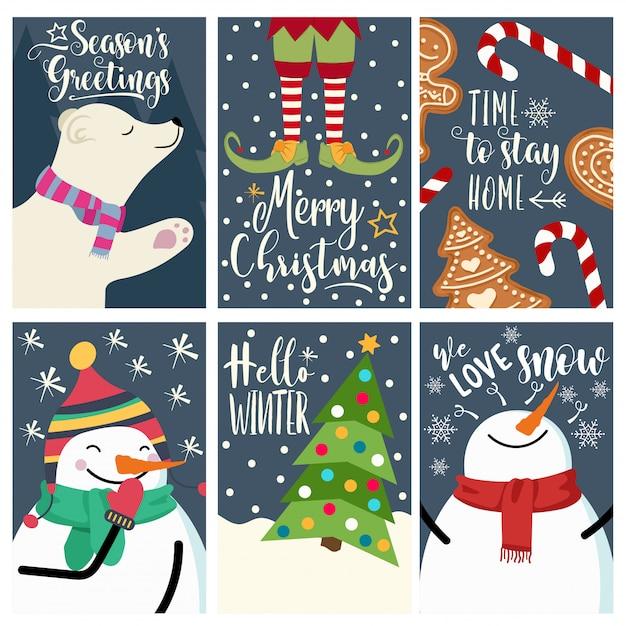 Christmas card set Premium Vector