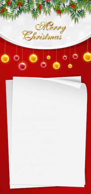 Christmas Card Template With Blank Paper And Mistletoes Vector