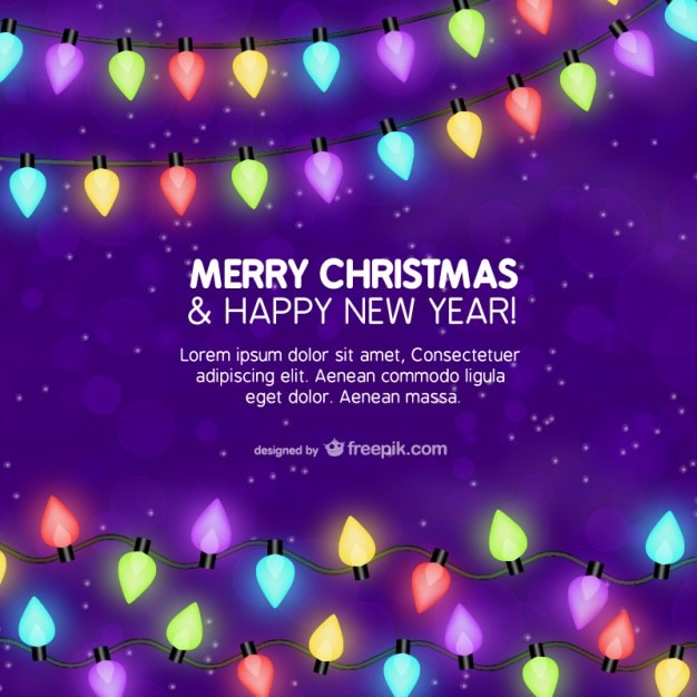 christmas card template with colorful lights vector free download