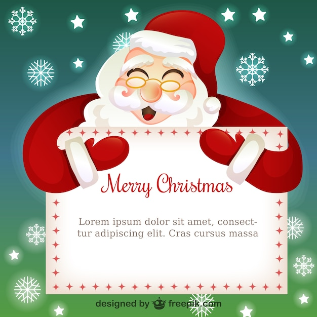christmas card template with santa claus cartoon free vector