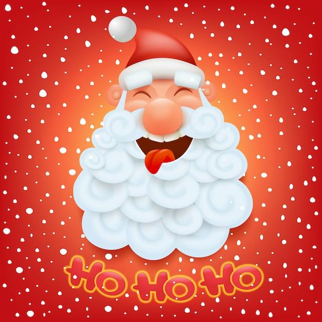 Christmas card template with santa claus head. ho ho ho title. Premium Vector