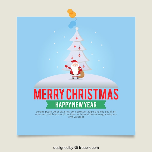 christmas card template with santa claus free vector