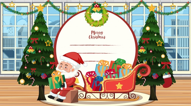 Christmas card template with santa and tree Premium Vector