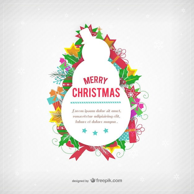 Lovely Christmas Card Template With Snowman Silhouette Free Vector