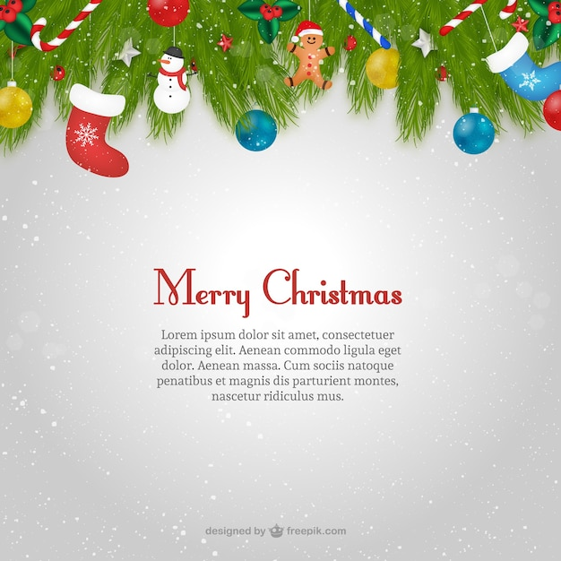Christmas Card Template With Text Vector Free Download .