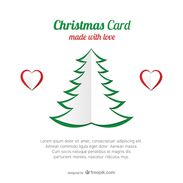 Christmas card template with tree Vector : Free Download