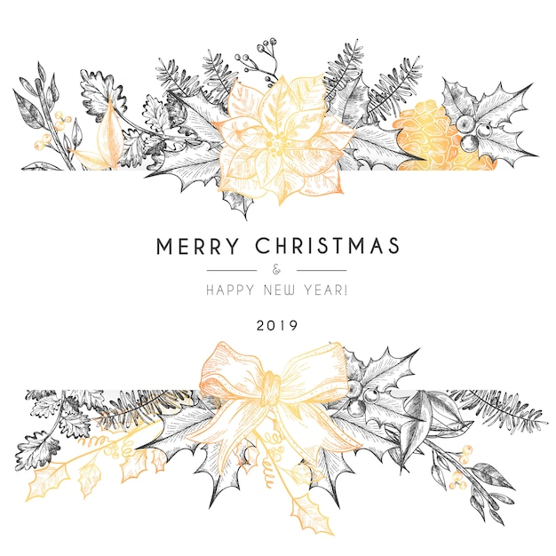 Christmas Card Template with Vintage Nature Free Vector