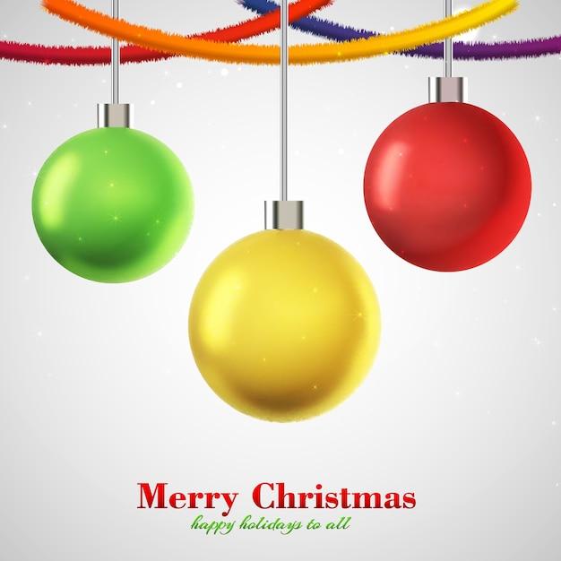 Cartolina di natale tre palline colorate appese Vettore gratuito