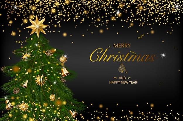 Рождественская открытка с композицией из праздничных элементов, таких как золотая звезда, ягоды, украшения для елки, сосновые ветки. веселого рождества и счастливого нового года. блеск украшения, золото Premium векторы