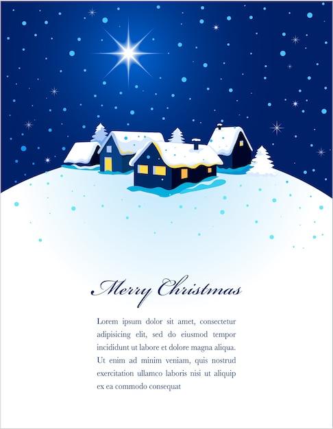 雪の中で町の夜景が描かれたクリスマスカード。ポスター、バナーまたはグリーティングカードの背景 Premiumベクター