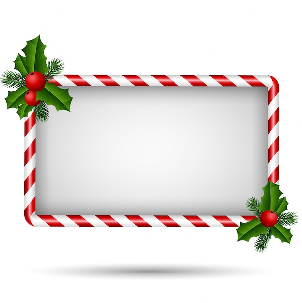 Christmas Card With Candy Frame Vector