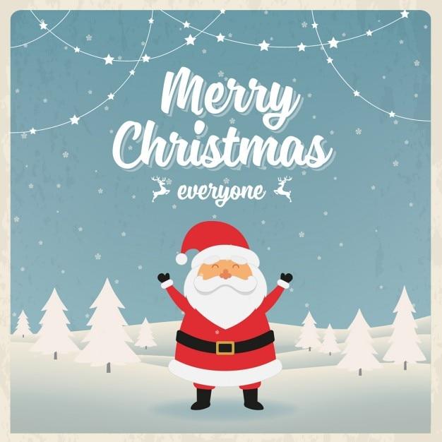 Christmas card with cheerful santa claus