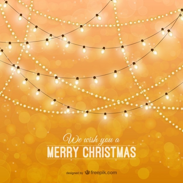 Christmas card with classic lights Free Vector