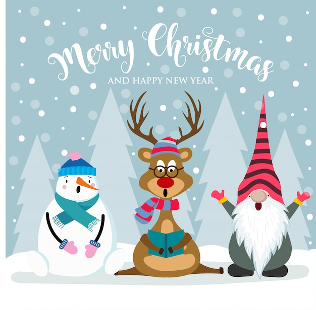 Christmas card with cute gnome, reindeer and snowman Premium Vector