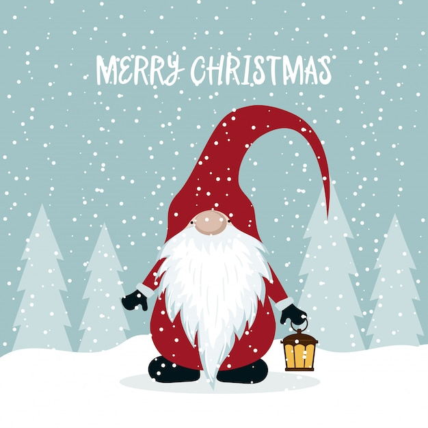 Christmas card with cute gnome Premium Vector