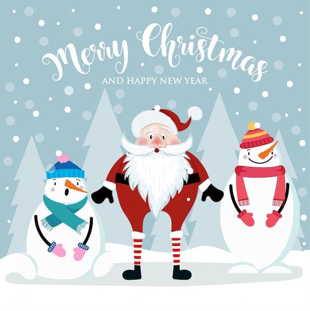 Christmas card with cute santa and snowmen. flat design. vector Premium Vector