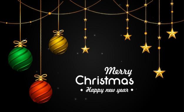 Christmas card with decorative 3d balls & reflective stars Premium Vector