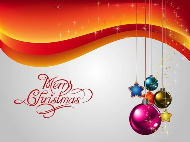 Christmas card with decorative elements Free Vector
