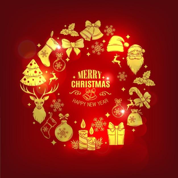 Рождественская открытка с декоративными иконками Premium векторы