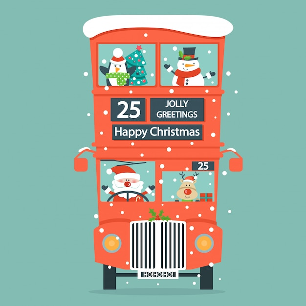 Christmas card with double decker bus. Premium Vector