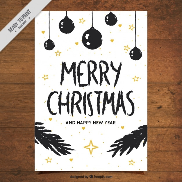 christmas card with drawings of balls and leaves free vector