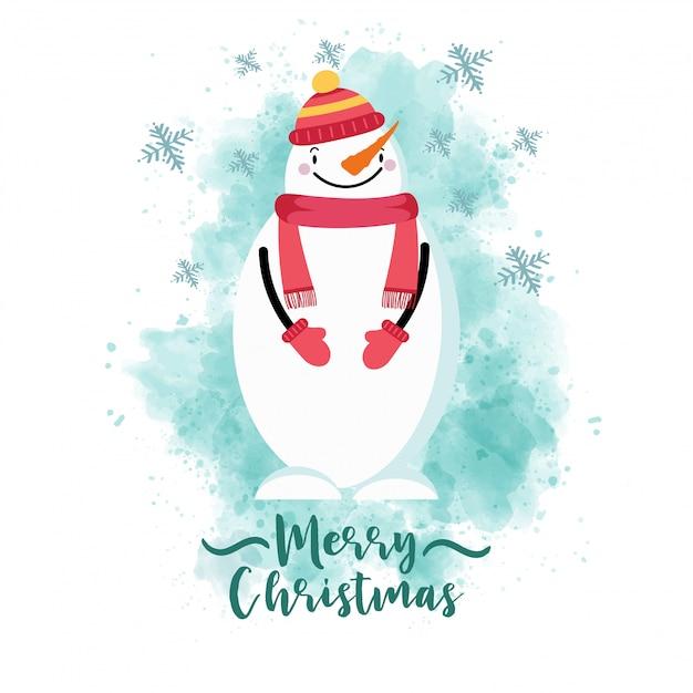 옷을 입고 눈사람으로 크리스마스 카드 프리미엄 벡터