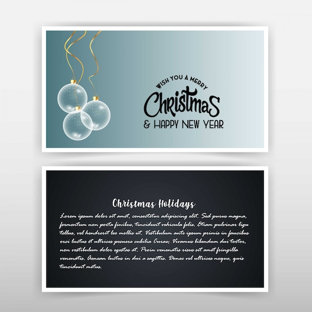 Christmas card with elegant design Free Vector