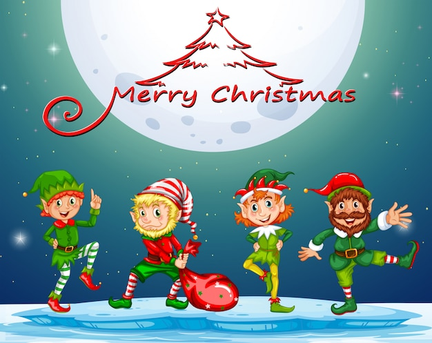 Christmas card with elf on fullmoon Free Vector