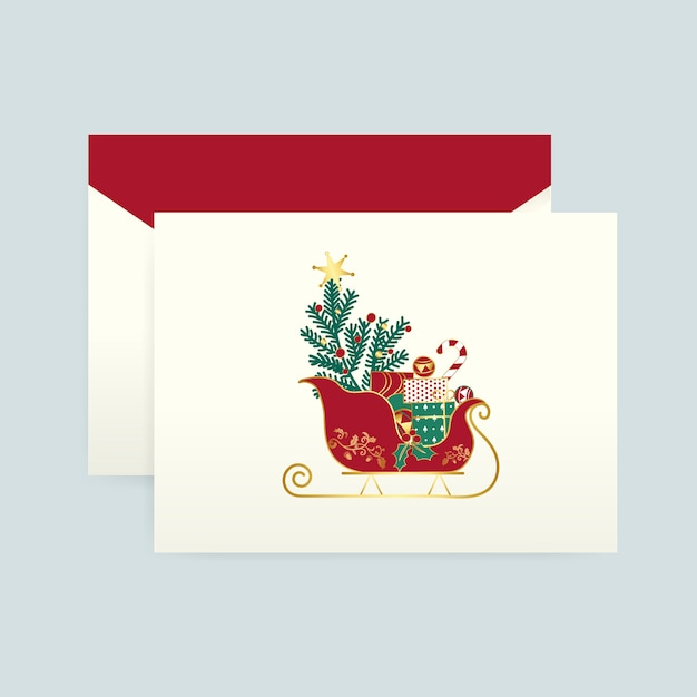 Christmas card with an envelope vector Free Vector