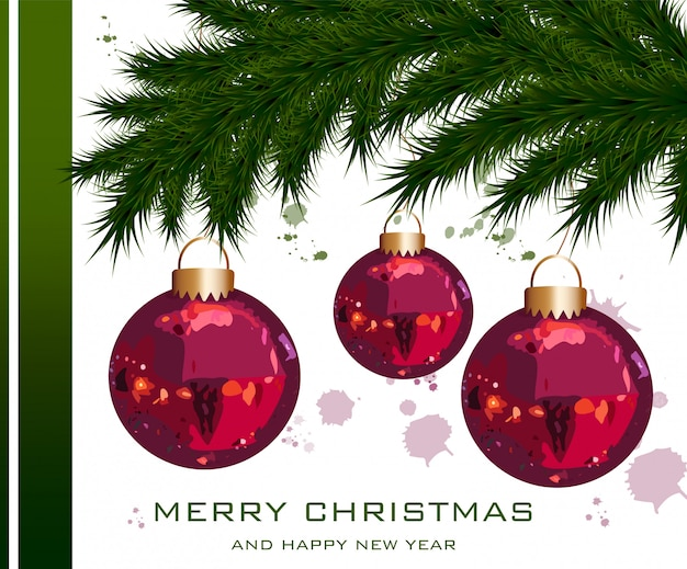 Christmas card with fir tree and baubles Premium Vector