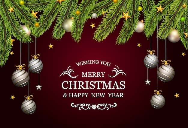 Christmas card with fir tree and decorative platinum gold balls Premium Vector