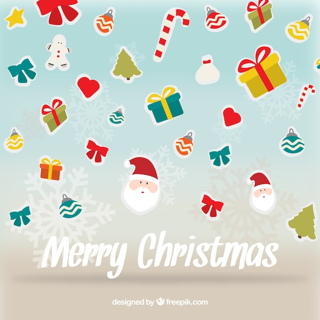 Christmas card with flat ornaments