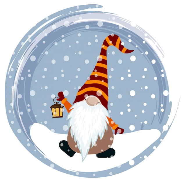 Christmas card with funny gnome Premium Vector