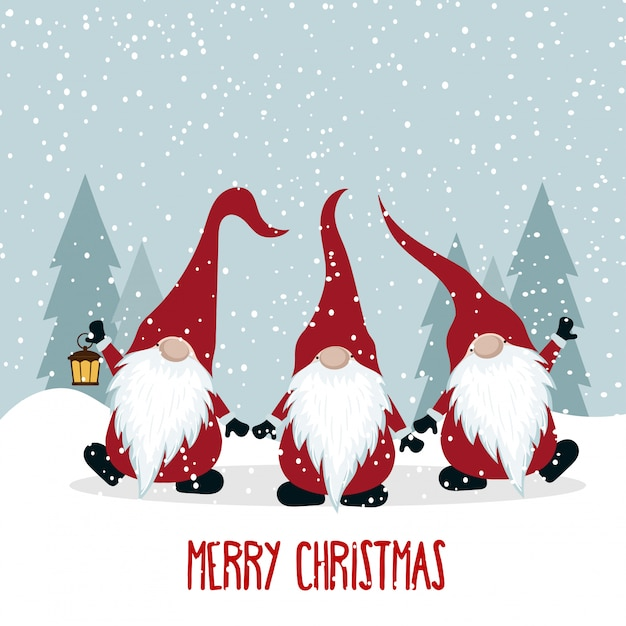 Christmas card with funny gnomes Premium Vector