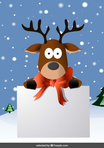 Christmas card with funny reindeer vector free download christmas card with funny reindeer free vector m4hsunfo