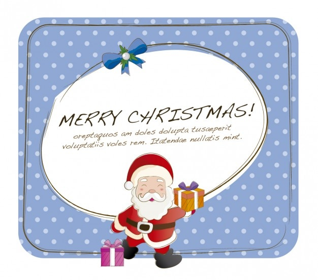 Christmas card with funny santa claus Vector | Free Download