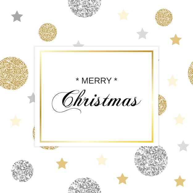 Christmas card with glittering circles Premium Vector