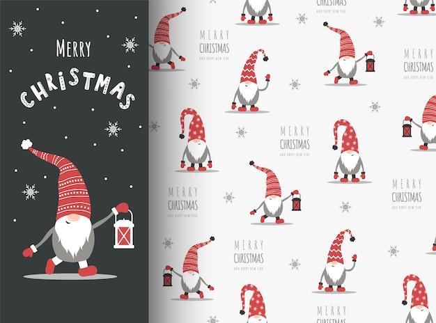 赤い帽子のノームとクリスマスカード。シームレスなパターンでかわいいスカンジナビアのエルフ。 Premiumベクター