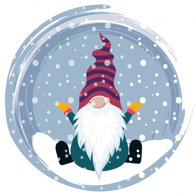 Christmas card with gnome Premium Vector