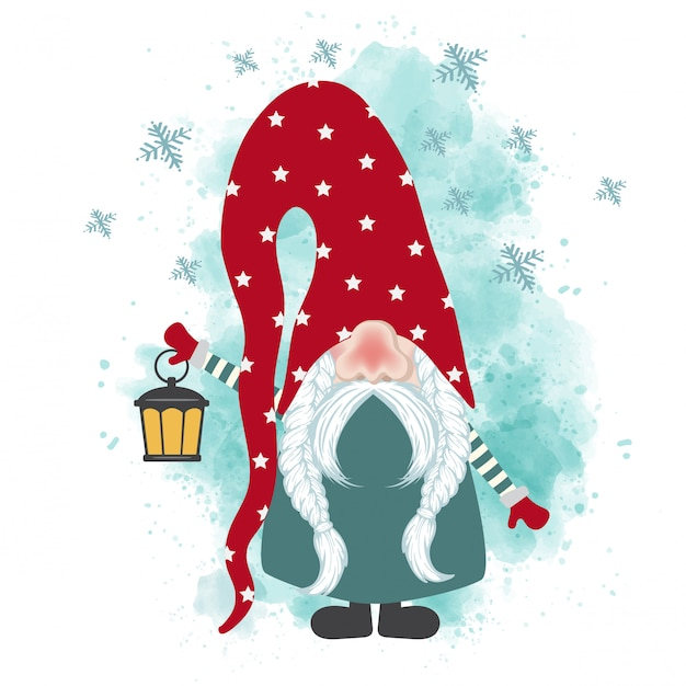 Рождественская открытка с гномом Premium векторы