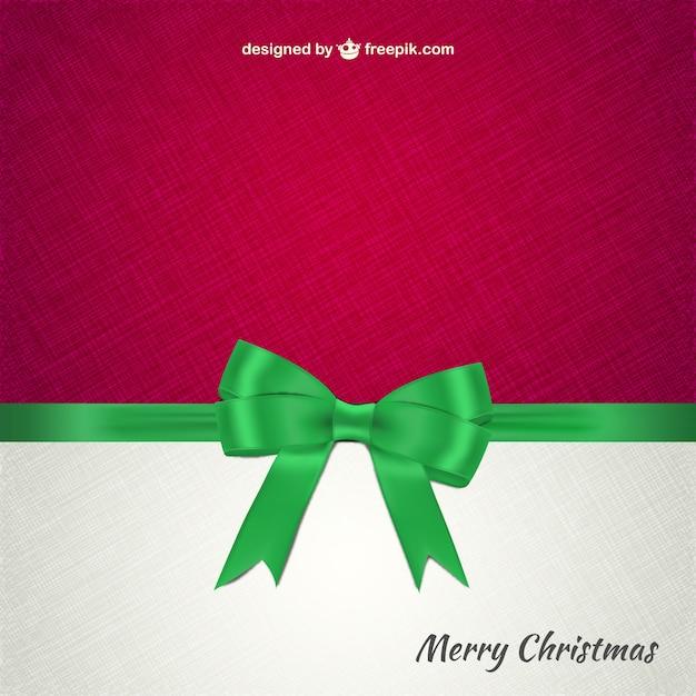 Christmas card with green ribbon Free Vector