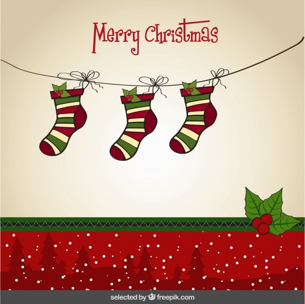 Christmas Card With Hanging Socks Vector Free Download