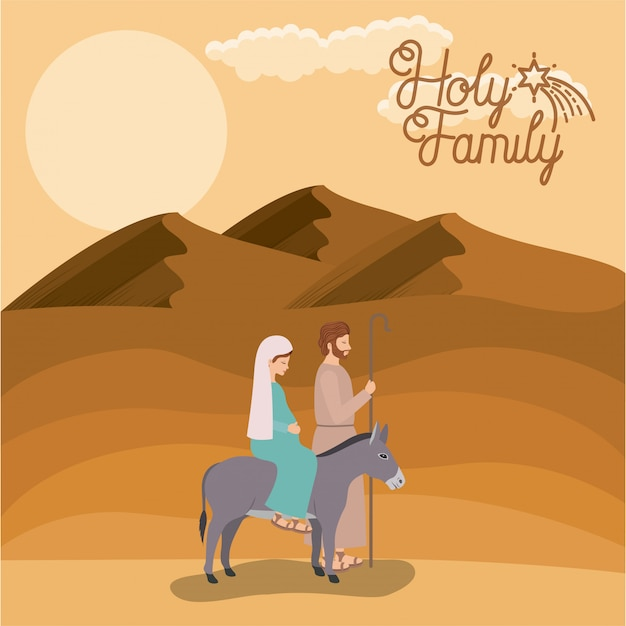 Premium Vector Christmas Card With Holy Family Traveling In Desert